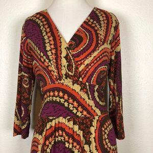 Talbots purple orange brown paisley dress 2p